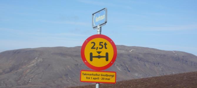 Þungatakmarkanir eru í gildi frá 1. apríl – 20.maí 2019